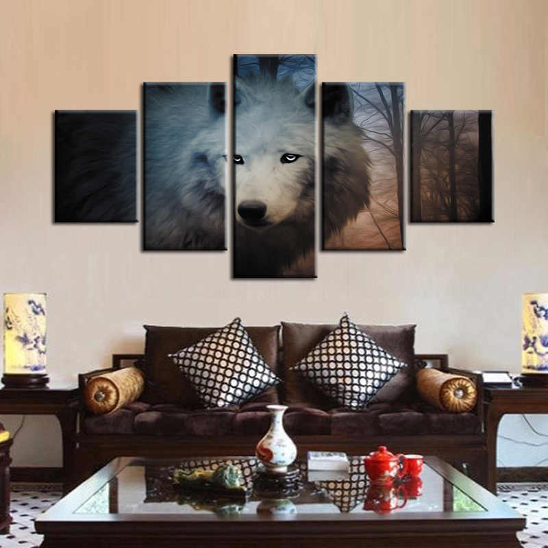 Wholesale Canvas Printings Wolf series 5 Piece Modern Style Cheap Pictures Decorative Wall Art Framed Prints Gift/ZT-3-84