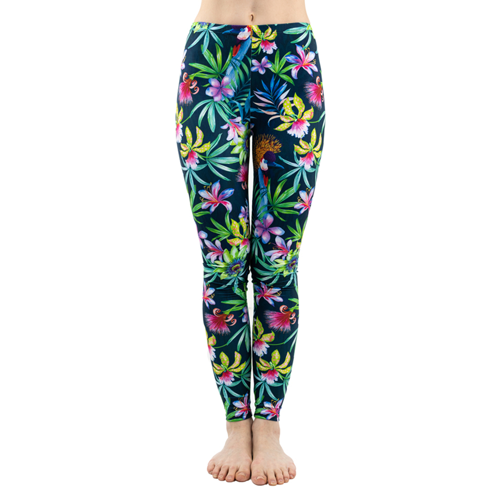 Fashion Women Trend Green Floral Leaf Flower Pattern   Leggings   Sexy Elasticity Fitness Slim Bottoms Workout Pants