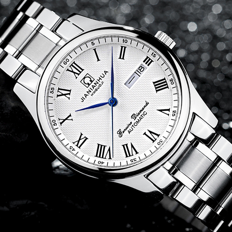 Здесь продается   Carnival Mechanical Watch Men Full Stainless steel Multifunctional Water Resistant  Business Double calendar Wristwatch  Часы