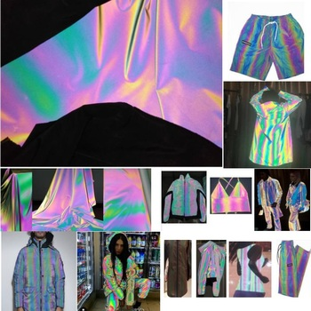135CM*100CM High Visibility  Iridescence Reflective Magic Rainbow Fabric Variable Color Brilliant Reflecting Light Fiber Fabric