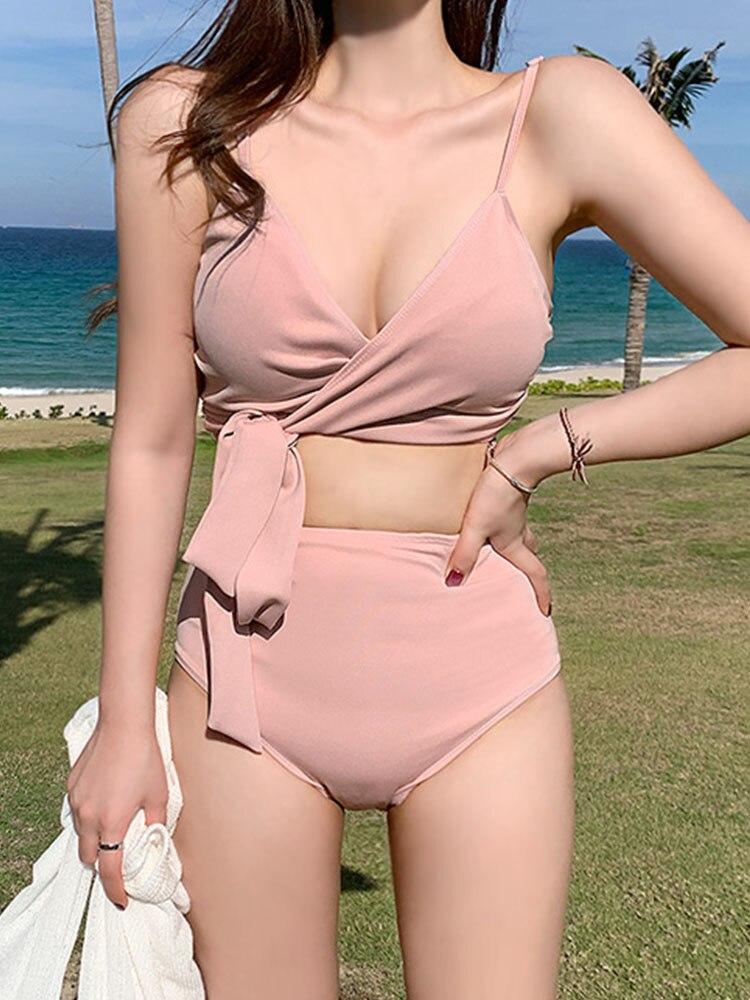 Korean Girls Swimwear Two Pieces Tankini Set Bathing Suit High Waist Sexy Women Bikini Swimwear  Trajes De Ba O De Las Mujeres