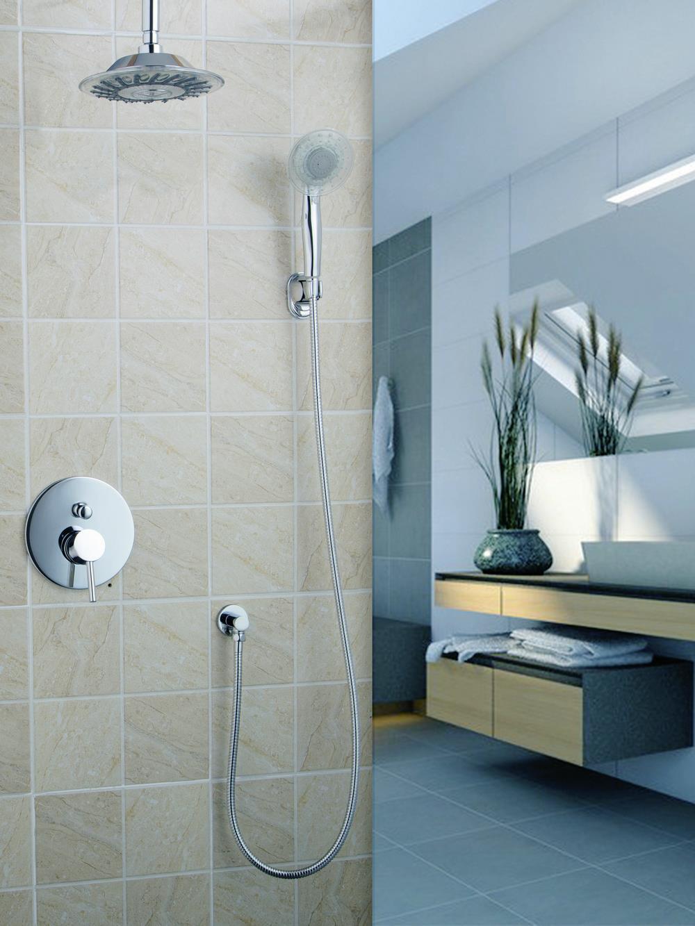 shower Set Wall Mount Monite Torneira 8 Shower Head 50243-22A Brass Chrome Bathroom Hot Cold Bathtub Faucet Handheld