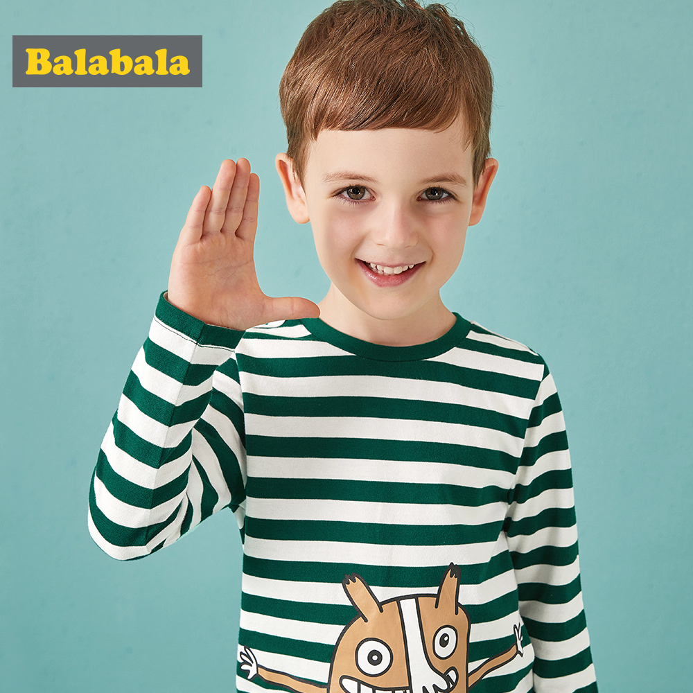 Balabala T-Shirts Long-Sleeve Boys Stripe Cartoon-Pattern Autumn Children Cotton