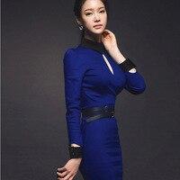 Korean Slim package hip aristocratic temperament career hit color cultivating long sleeved dress