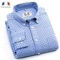 Langmeng 2016 Новый 100% Хлопок Мужчины С Длинным Рукавом Slim Fit Рубашки Мужчины Стильный Мода Повседневная Рубашка Camisa Masculina полька точка