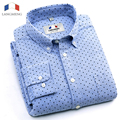 Langmeng 2016 New 100% Cotton Men Long Sleeved Slim Fit Dress Shirts Men Stylish Fashion Casual Shirt Camisa Masculina polka dot