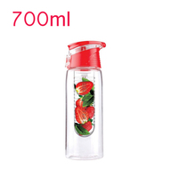 Pink Tritan BPA free Plastic 700ml Handle Bar Travel Water Bottle   eco friendly Lemon Fruit Sink Pipe Water Mug Free Shipping Water Bottle & Cup Accessories Home & Garden -