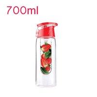Roze Tritan BPA gratis Plastic 700 ml Handvat Bar Reizen Water Fles  milieuvriendelijke Citroen Fruit Wastafel Pijp Water Mok Gratis Verzending