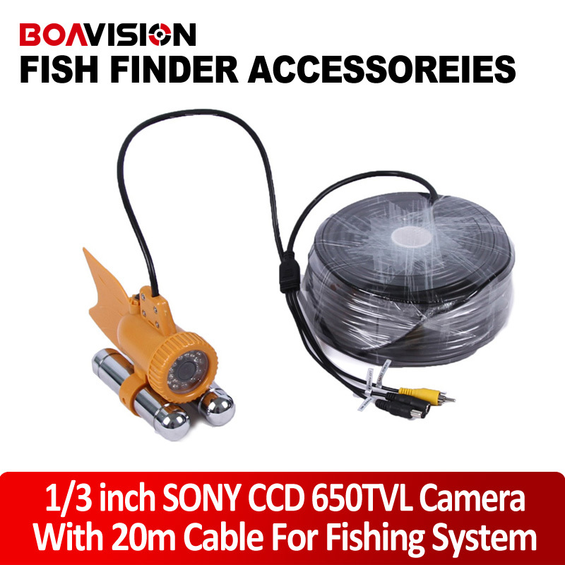 Underwater Fishing Camera CCD 650TVL 24Pcs White Light Leds Night Vision Camera Two Stick + 20m/66ft Cable Work With Fish Finder 20m cable underwater fishing camera fish finder with 1 3 sony ccd effio e 12pcs white leds camera night vision rotate 360 degree