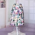 Nueva Atractiva de Las Mujeres de Moda Falda de Verano Estilo de Colores Impresa Flor Una Línea de Midi Tutú Elástico de Cintura Alta Mujeres Longitud de La Rodilla falda