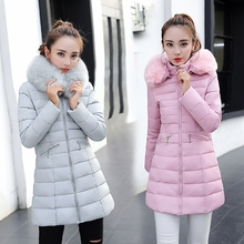 Korea Plus Size Slim Women Jacket&Coat Hooded Thicken Cotton Outwear Detachable Big Fur Collar Female Cloth Medium Long MY0086