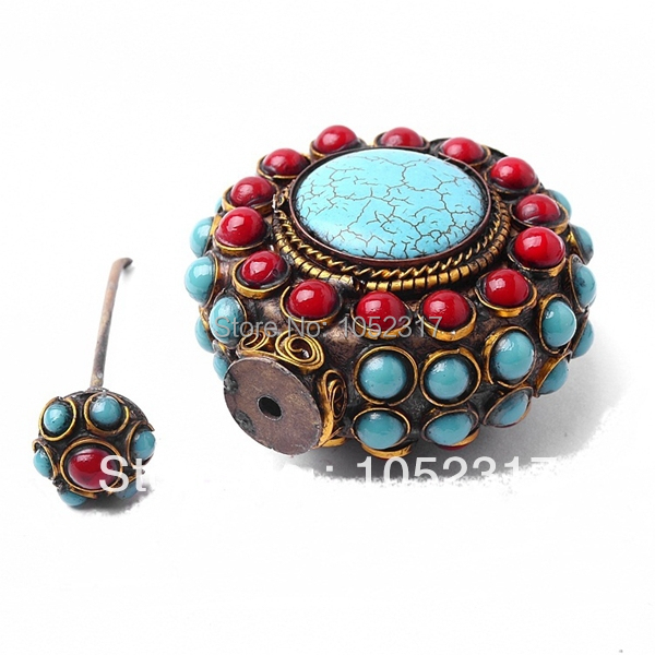 Free Shipping Antique Round Blue Turquois