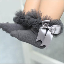 0 6Y Princess Kids Tutu Socks Short Girls Baby Socks Silk Ribbon Bowknot Lace Ruffle Cotton Ankle Socks Photography Props