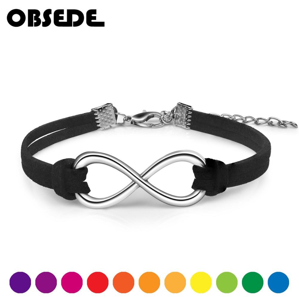OBSEDE Fashion Infinity Rope Bracelet Hand-woven 15 Color Silver Korean Velvet Leather Fashion Wrap Leather Jewelry Women Men