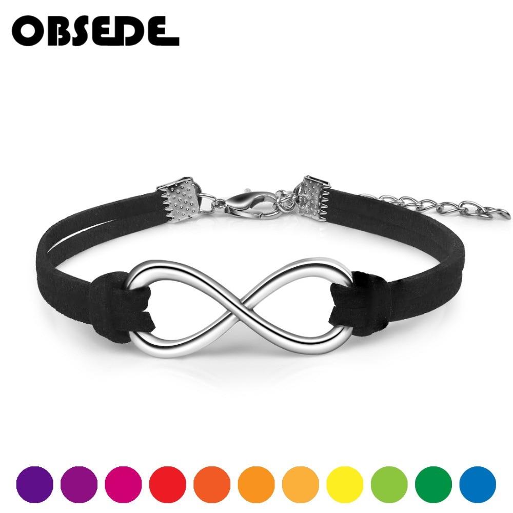 Женский бархатный браслет OBSEDE, плетеный браслет из кожи бесконечности, 15 цветов, серебристого цвета, корейский стиль