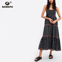 ROHOPO Spaghetti Vintage Maxi Pleated Midi Dress Tunic Patchwork Embroidery Multiways Cotton Boho Holiday Dresses #CW9042
