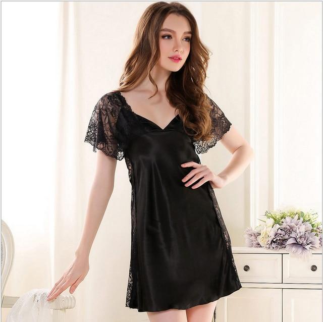 Women Sexy Silk Satin Nightgowns Short Sleeve Night Dress V-neck Nightdress Lace Night Shirt Summer Night Wear Sleep Wear