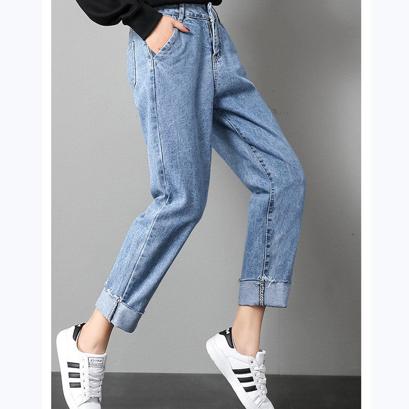 JUJULAND 2018 Autumn Clothes Ladies High Waist Female Boyfriend Jeans For Women Trousers Pants Denim Ripped Jean Woman Plus Size