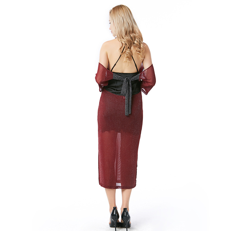 Women Sweater Dress Round Neck Wine red perspective Bodycon Half Sleeve Solid Pullover Stitching 2018 New spring Women Dress