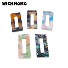 2019 New 4 Pieces 35mm High Quality Rectangular Acetic Acid Resin Smooth Charms Connectors for DIY Earring Jewelry Accessories