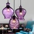 Простой креативный подвесной светильник  индивидуальные фиолетовый стеклянные для столовой  ресторана  спальни  учебы  прохода  атмосферы  ...