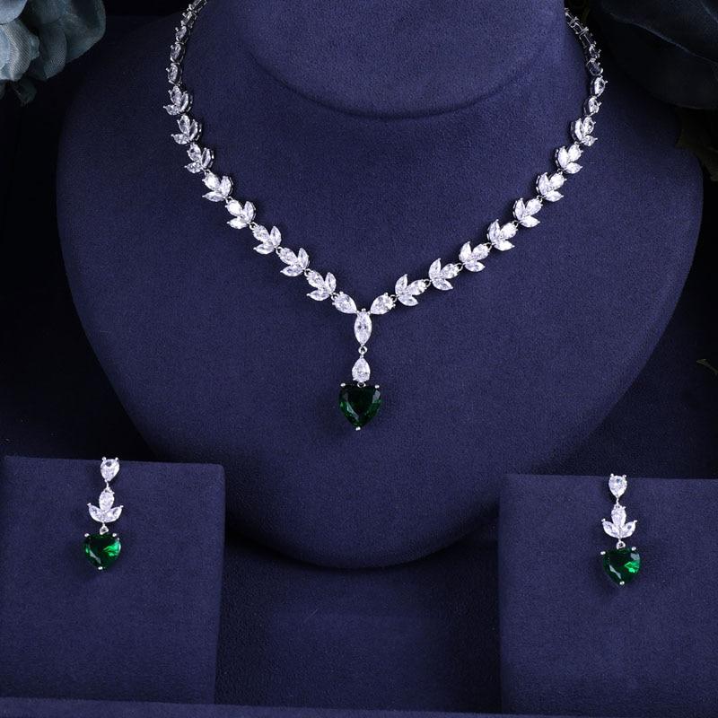 Jewelry-Sets Jankelly Bridal-Zirconia Crystal Dubai Green Nigeria Women 2pcs Heart