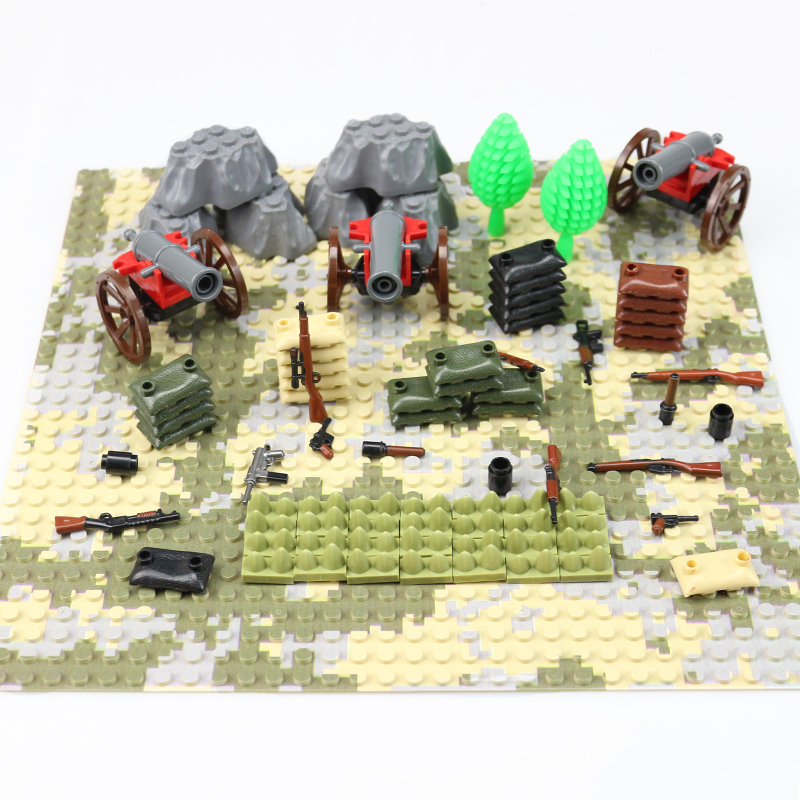 War Accessories Military Cannon Scenes Guns Weapons SWAT Sandbag For Land Force MOC Building Blocks Toys For Kid Gifts Legoingly 8 in 1 military ship building blocks toys for boys