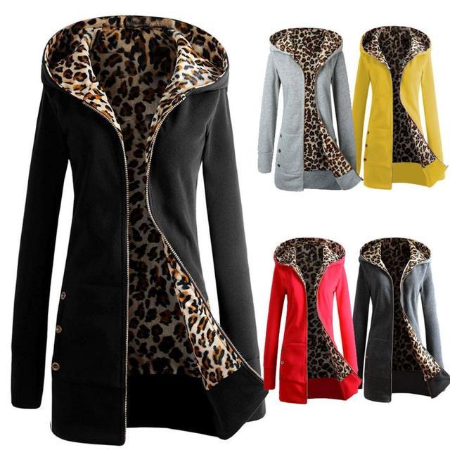 EV 30 Fairy Store Venta Caliente Envío de La Gota 1 UNID Las Mujeres, Además de Terciopelo Engrosamiento Suéter Con Capucha de Leopardo Capa de la Cremallera