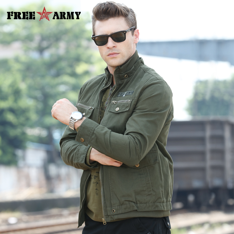 FreeArmy Brand Autumn Men Jackets Jackets And Coats Military Green Winter Cotton Jacket Coat Men's Pilot Jackets Air Force Cargo