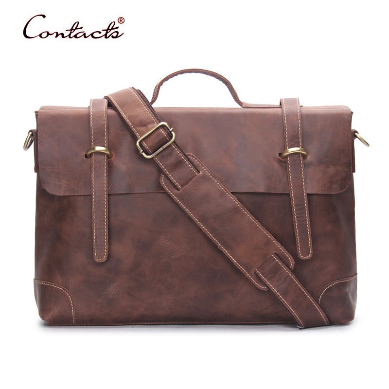 CONTACT'S Men Handbags Crossbody Tote Messenger Shoulder Male Bags Genuine Leather Vintage Briefcase 2017 New Famous Brand Brown y zhuo new 2017 business vintage man tote leather brand handbags men messenger shoulder crossbody bag leather briefcase for man