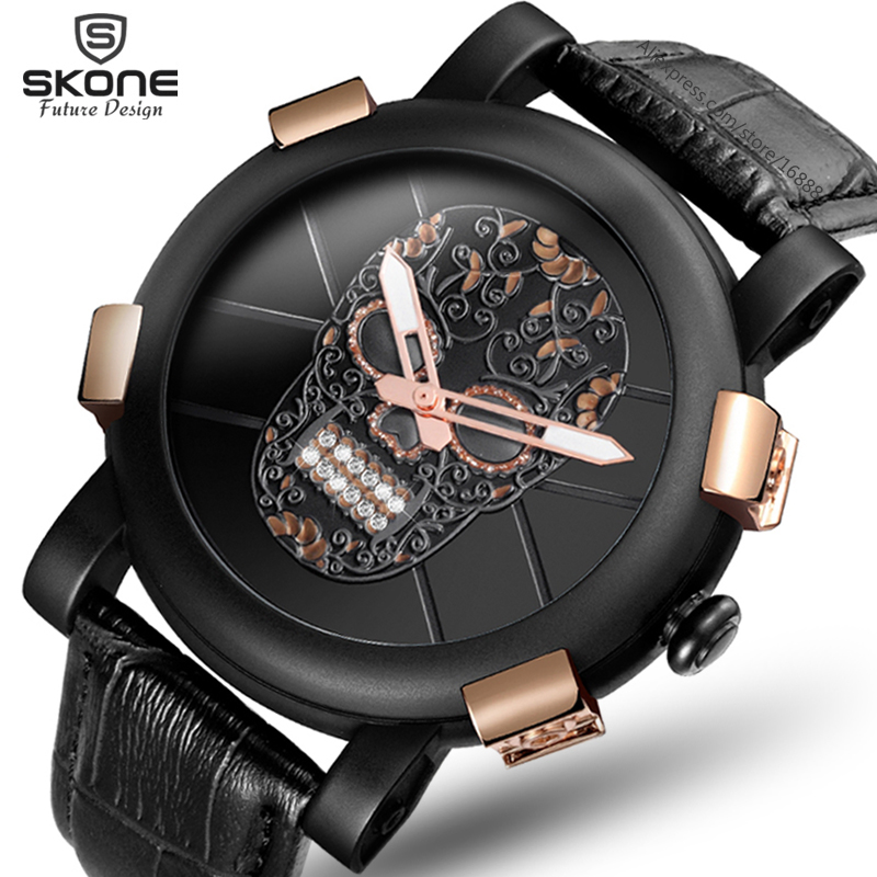 SKONE New Skull Pirate Black Watch Men Diamond 3D Scrub Dial Genuine Leather Skeleton Punk Fashion Men Watch Relogio Masculino skone relogio 9385
