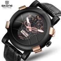 SKONE New Skull Pirate Black Watch Men Diamond 3D Scrub Dial Genuine Leather Skeleton Punk Fashion