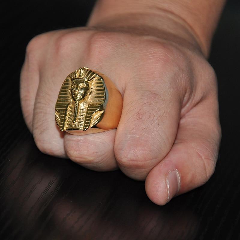 HIP Hop Gold Färg Mystiska Egyptiska Pharaoh Ringar Rock Titanium - Märkessmycken - Foto 5