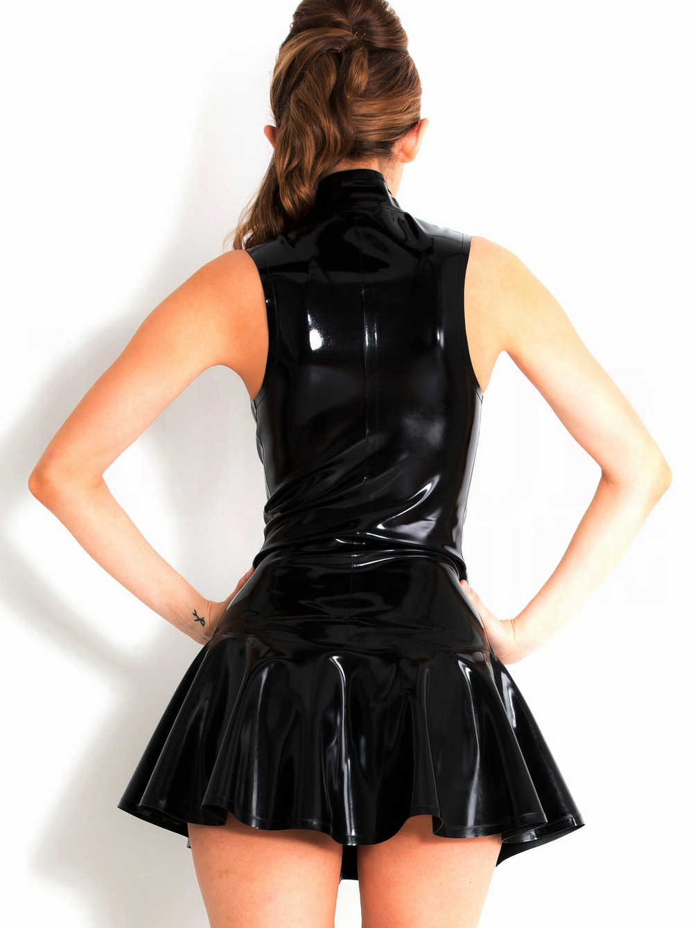 39cdecb61c627 Women Plus Size Wet Look Dress PVC Leather Pleated Dresses Sleeveless Latex  Bondage Catsuit Pole Dance Dress Clubwear