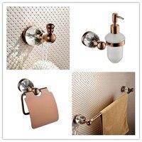 Rose gold solid brass Bathroom hardware Accessory set Paper holder Soap dispenser single Towel bar towel rack Robe Clothes hook