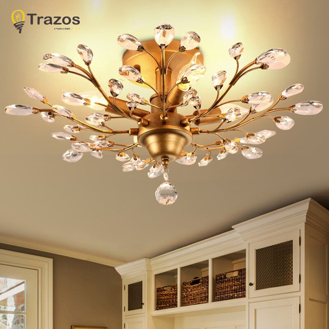 2018 New Vintage American Ceiling Lights Metal Golden Aisle Lights Balcony Ceiling Lamps For Home Modern Vintage Decorations
