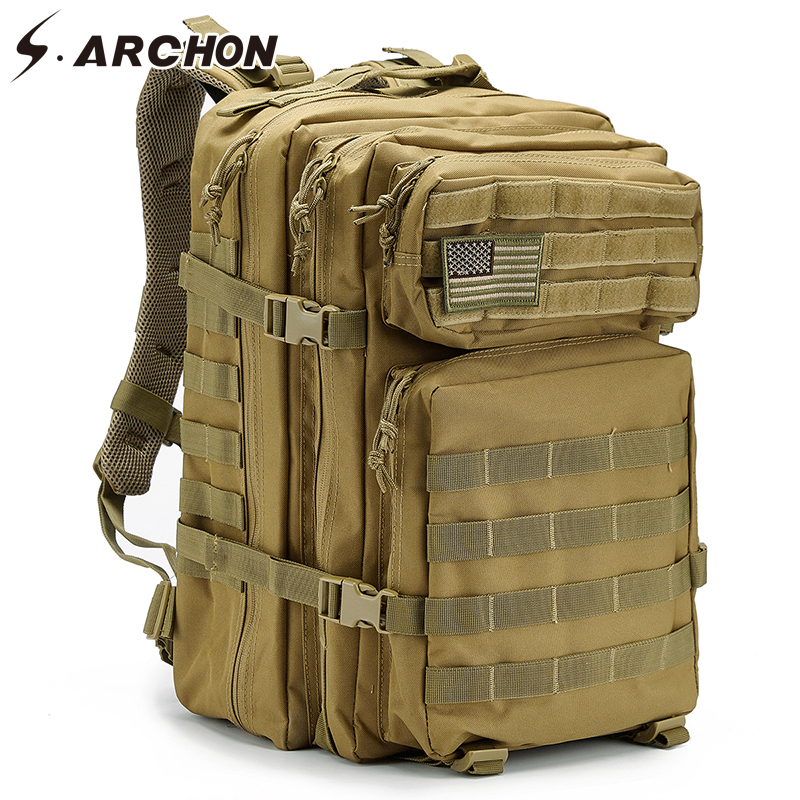 S ARCHON Military Backpack Large Capacity Waterproof Army Molle Bug Out Assault Bag Multifunctional Soldier Battle