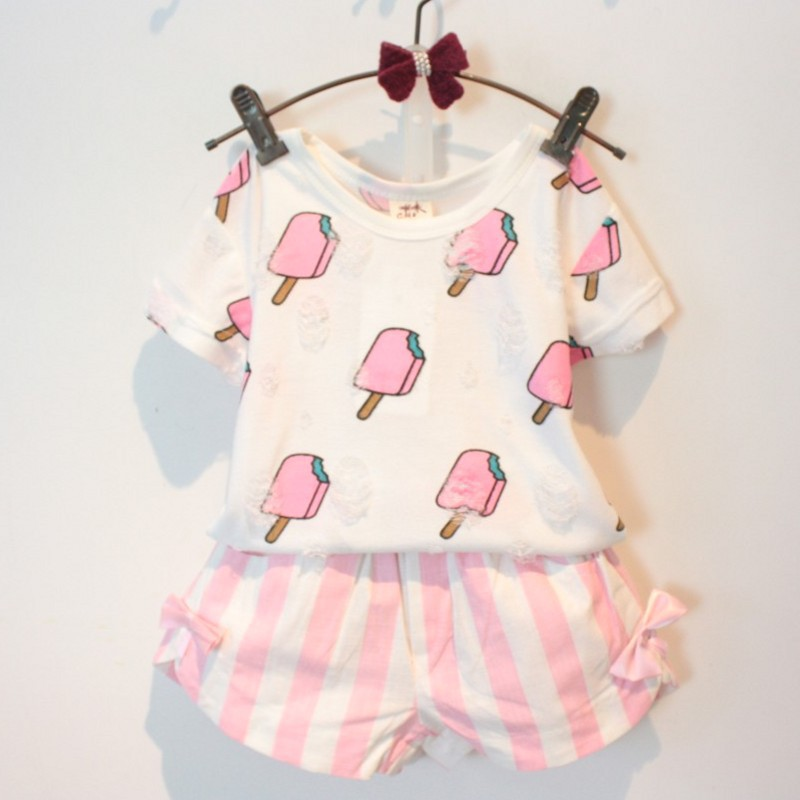 2018 Baby Girls Clothing Set Popsicle Style Kids Girl Clothes Cute