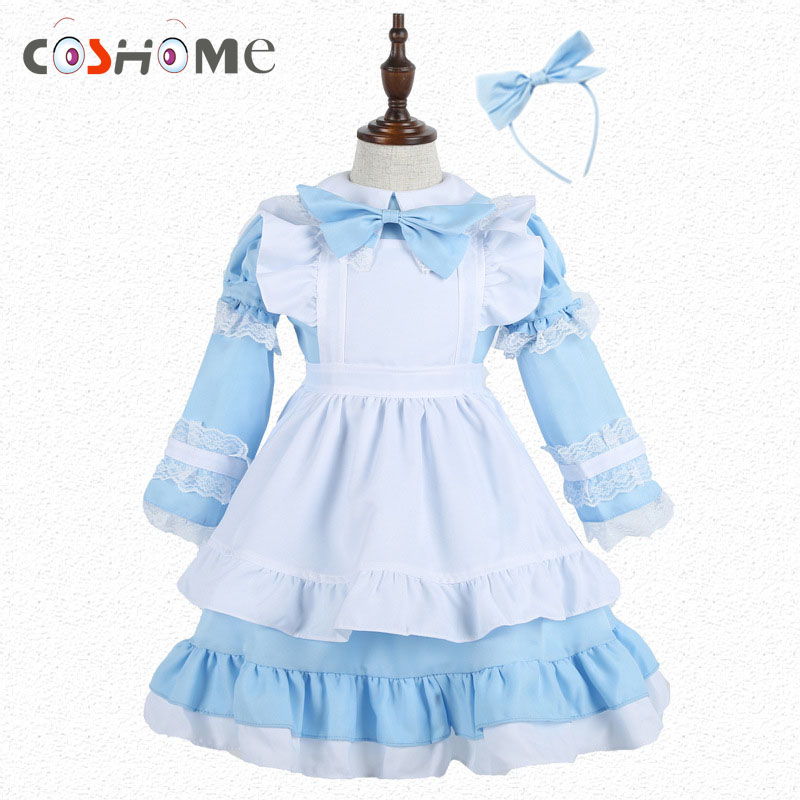 Coshome Women Girls Maid Cosplay Alice Costumes Family Matching Clothing Mother Daughter Blue Lolita Dress For Halloween Party