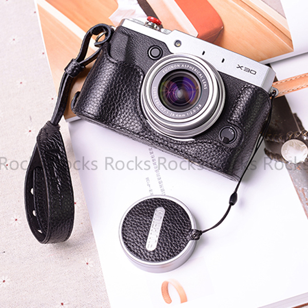 Hand Made Leather Lens Cap Holder Cover Protector Decals Suit For Fujifilm X100T X100S Black Color In Len Caps From Consumer Electronics On