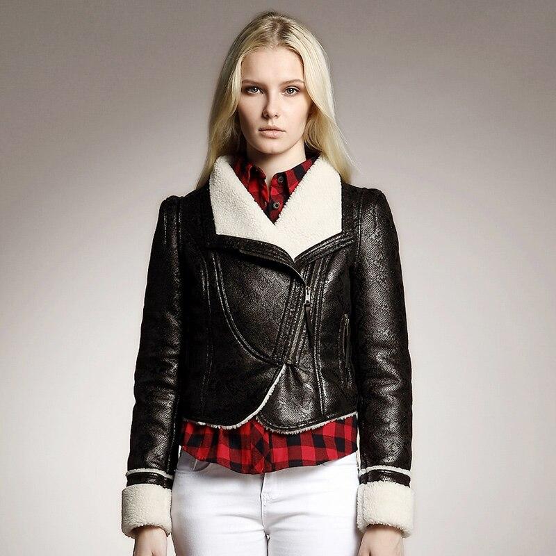 Woman Short Biker Motorcycle Leather Jackets Suede Designer Shearling Coats Winter Warm Streetwear Top Size S-Xxl