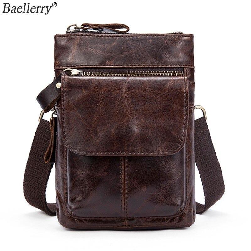 Baellerry Men's Shoulder Bag For Men Genuine Leather Messenger Phone Hip Pack Male Waist Bags Crossbody Small Zipper Handbag