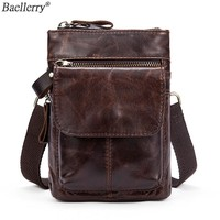 Baellerry Men's Shoulder Bag For Men Genuine Leather Messenger Phone Hip Pack Male Waist Bags Crossbody Small Zipper Handbag
