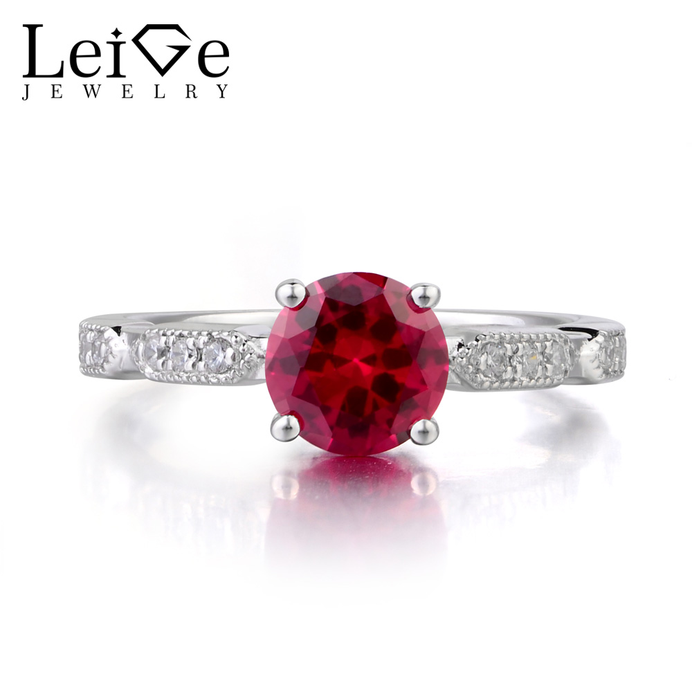 купить Leige Jewelry Ruby Ring Round Cut Engagement Promise Rings for Woman 925 Sterling Silver Gemstone Jewelry July Birthstone по цене 5915.78 рублей