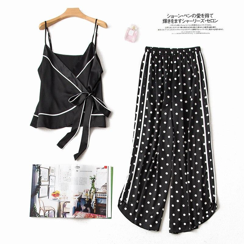 2 Stücke Pijamas Frauen Nachtwäsche Silk Pyjamas Für Frauen Sexy Nachtwäsche 9643 Fein Verarbeitet