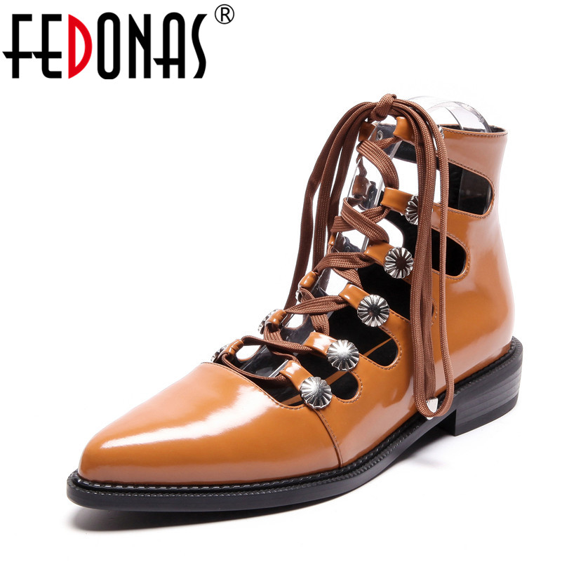 FEDONAS Shoes Woman 2020 Spring Summer Women Boots Female Genuine Leather Shoes Patent Leather Corss Strap