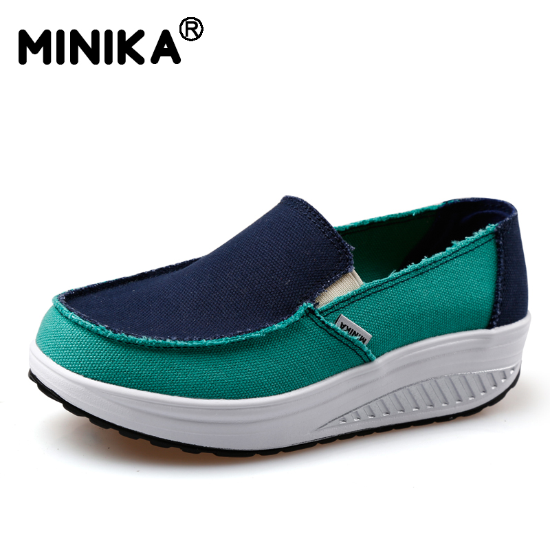 Minika Fashion Lose Weight Women Slimming Wedge Shoes Casual Breathable Platform Canvas Shoes Outdoor Walking Zapatillas fashion embroidery flat platform shoes women casual shoes female soft breathable walking cute students canvas shoes tufli tenis