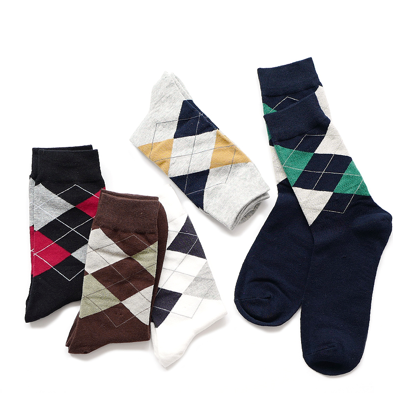 5pairs/lot Mens Socks Rhombus Print Classic Solid Socks Man Cotton Casual Business Breathable Socks Meias Chaussettes New
