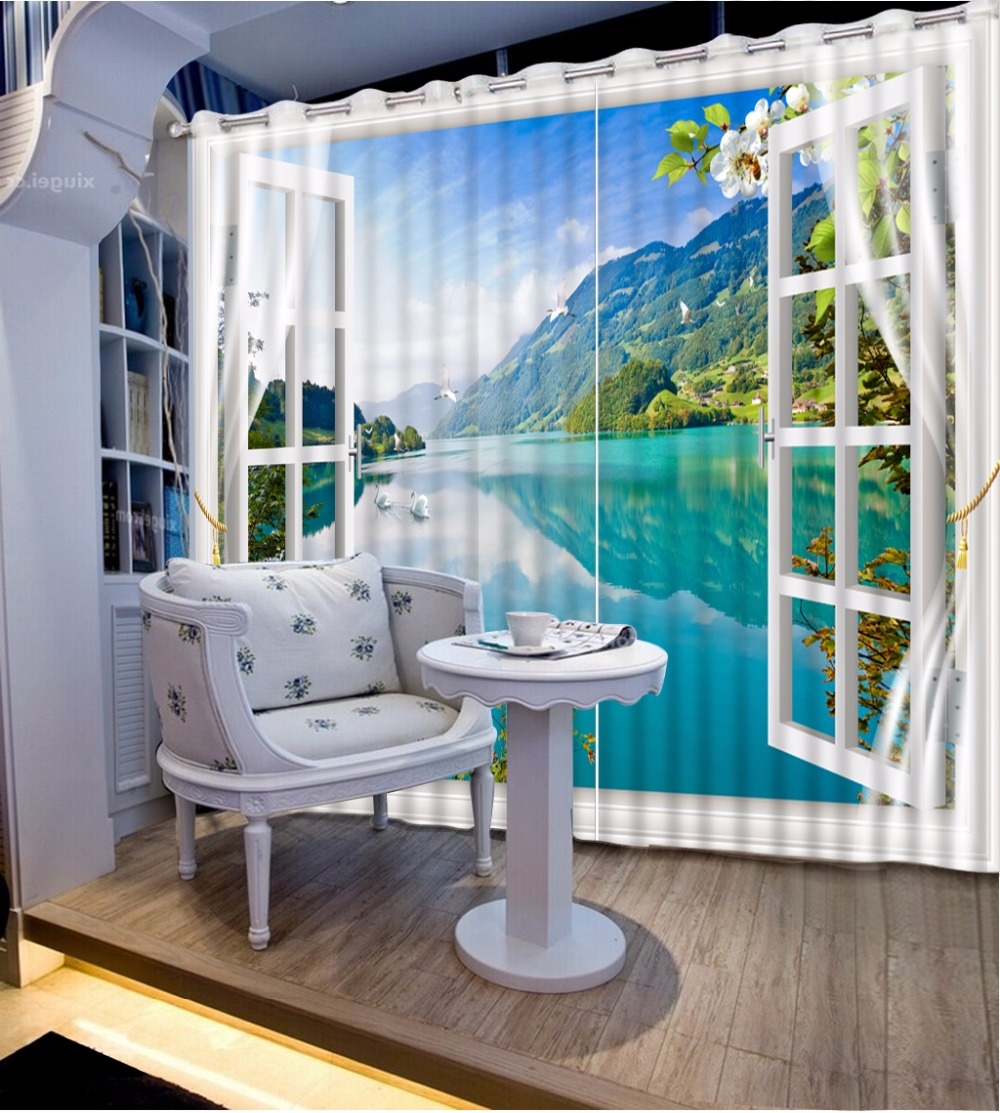 3D Curtain Photo Blue Lake Landscape Outside The Window Curtains For Bedroom Curtains For Living Room Blackout Shade Window