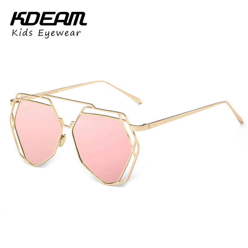 2016 NEW Brand Designer Kids Sunglasses Aolly Frame Flat Sun glasses Vintage Mirror Glasses For Children Irregular Hollow Shades